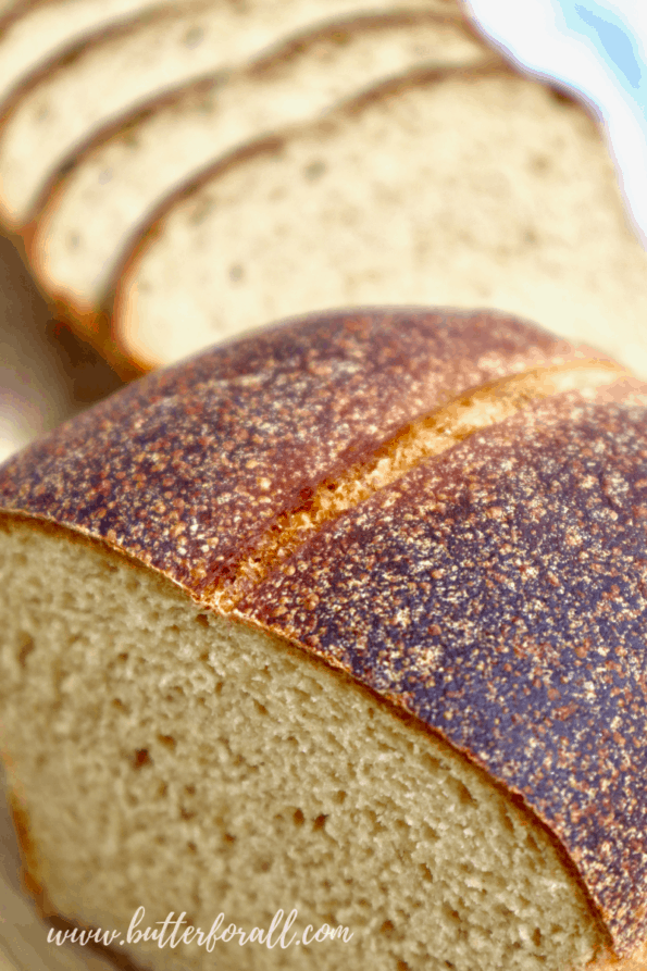 The golden-brown crust of a freshly baked loaf of Kamut sourdough sandwich bread.