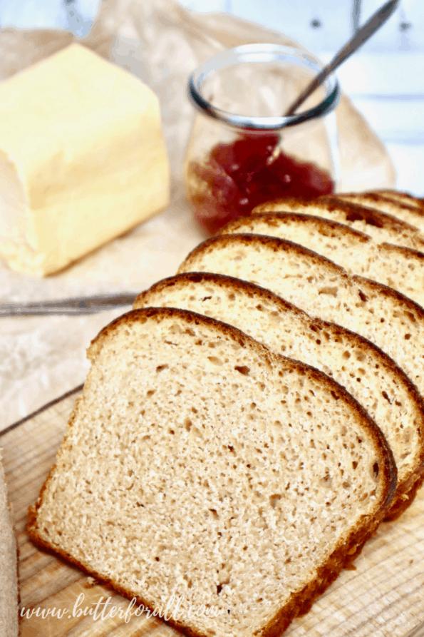 Slices of freshly baked Kamut sourdough sandwich bread.