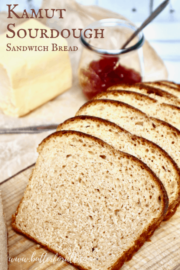 Slices of fresh Kamut sourdough with title text overlay.