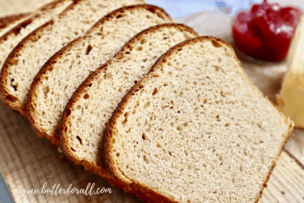 Thinly sliced Kamut sourdough sandwich bread.