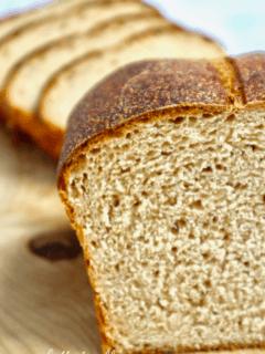 The beautiful crumb of a loaf of Kamut sourdough sandwich bread.