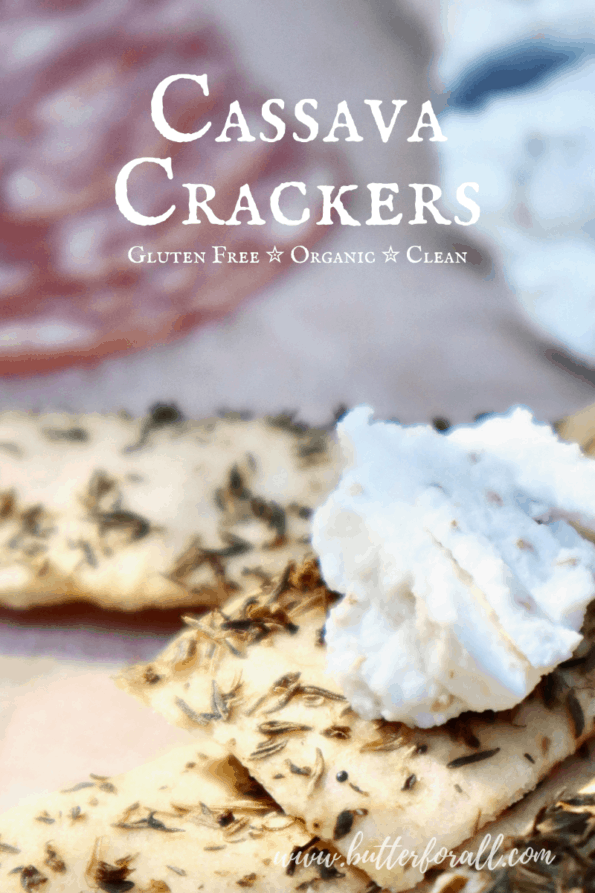 Light and crispy cassava crackers with goat cheese.