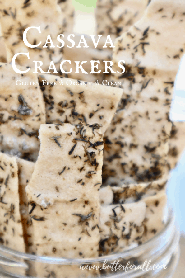 A jar of crispy cassava crackers with text overlay.