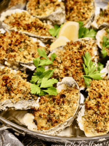 A plate of sourdough-crusted oysters Rockefeller.