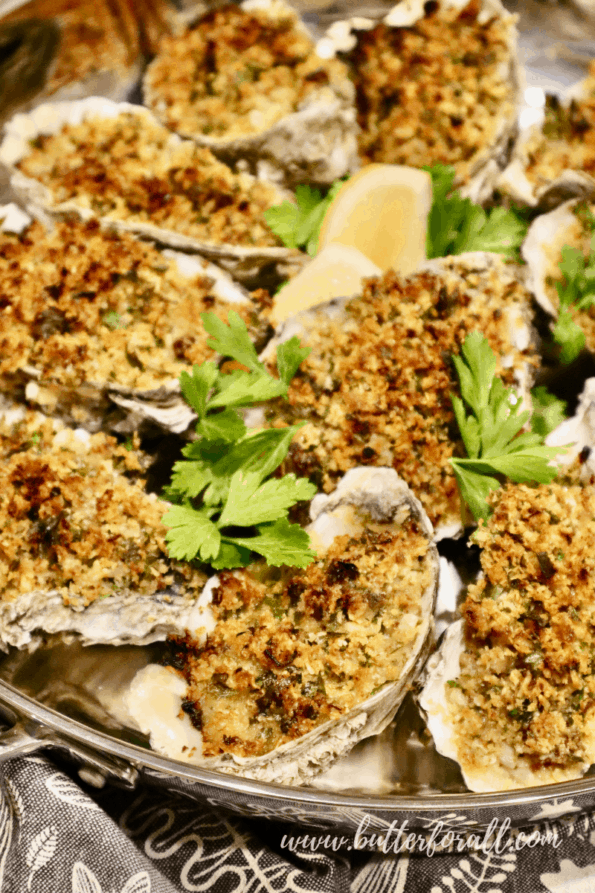 Large sourdough-crusted oysters baked to golden-brown perfection.